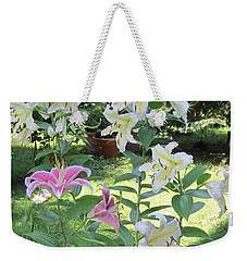 White Stargazers Lilies Weekender Tote Bag
