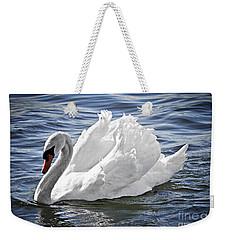 White Swan On Water Weekender Tote Bag