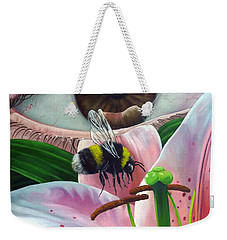 White Tailed Bumble Bee Upon Lily Flower Weekender Tote Bag