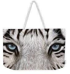 White Tiger Eyes Painting Weekender Tote Bag by Rachel Stribbling