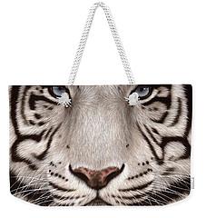 White Tiger Painting Weekender Tote Bag by Rachel Stribbling