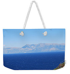 Weekender Tote Bag featuring the photograph White Trail by George Katechis