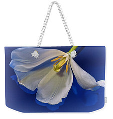 White Tulip On Blue Weekender Tote Bag