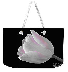 Weekender Tote Bag featuring the digital art White Tulip With Pink by Jeannie Rhode