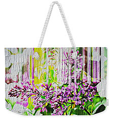Weekender Tote Bag featuring the photograph White Washed Painted Lilac by Judy Palkimas