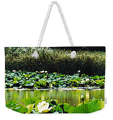 Weekender Tote Bag featuring the photograph White Water Lotus  by Shawna Rowe