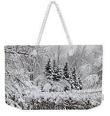 White Winter Day Weekender Tote Bag