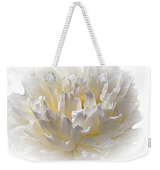 White Peony With A Dash Of Yellow Weekender Tote Bag by Sherman Perry