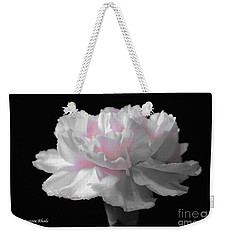 Weekender Tote Bag featuring the digital art White With Pink Carnation by Jeannie Rhode