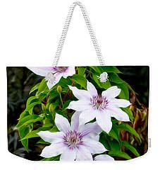 White With Purple Flowers 2 Weekender Tote Bag