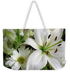 Weekender Tote Bag featuring the photograph White Wonder by Rory Sagner