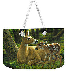 Whitetail Deer - First Spring Weekender Tote Bag by Crista Forest