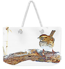 Whitethroated Sparrow On Snow-dusted Tree Branch Digital Art Weekender Tote Bag