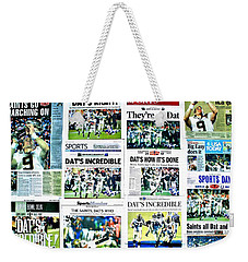 Who Dat Headlines Weekender Tote Bag by Benjamin Yeager