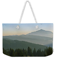 Wide Panorama With Mountains At Sunset In Late November Weekender Tote Bag