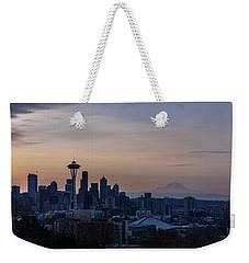 Wide Seattle Morning Skyline Weekender Tote Bag by Mike Reid