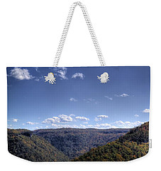 Wide Shot Of Tree Covered Hills Weekender Tote Bag by Jonny D