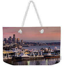 Wider Seattle Skyline And Rainier At Sunset From Magnolia Weekender Tote Bag by Mike Reid