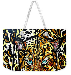 Weekender Tote Bag featuring the painting Wild Cat by Nora Shepley