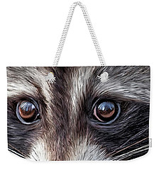 Wild Eyes - Raccoon Weekender Tote Bag by Carol Cavalaris