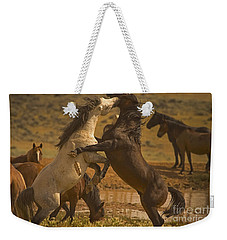 Weekender Tote Bag featuring the photograph Wild Mustang Stallions - Signed by J L Woody Wooden