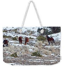 Wild Mustangs In A Nevada Winter Weekender Tote Bag by Bobbee Rickard