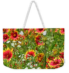 Weekender Tote Bag featuring the photograph Wild Red Daisies #2 by Robert ONeil