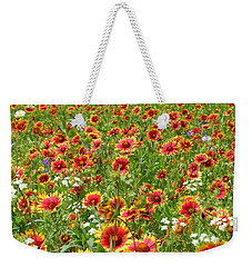 Weekender Tote Bag featuring the photograph Wild Red Daisies #3 by Robert ONeil