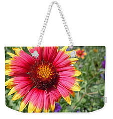 Weekender Tote Bag featuring the photograph Wild Red Daisy #1 by Robert ONeil