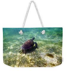 Weekender Tote Bag featuring the photograph Wild Sea Turtle Underwater by Eti Reid