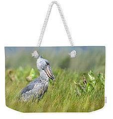 Weekender Tote Bag featuring the photograph Wild Shoebill Balaeniceps Rex  by Liz Leyden