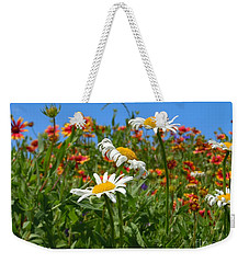 Weekender Tote Bag featuring the photograph Wild White Daisies #1 by Robert ONeil