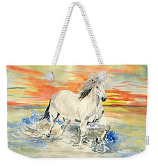 Wild White Horse Weekender Tote Bag by Melly Terpening