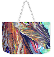 Weekender Tote Bag featuring the drawing Wild Wolf by Daniel Janda