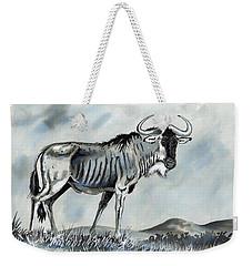 Wildebeest Weekender Tote Bag by Anthony Mwangi