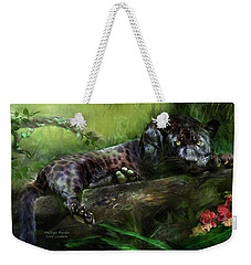 Wildeyes - Panther Weekender Tote Bag by Carol Cavalaris