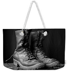 Weekender Tote Bag featuring the photograph Wildland Fire Boots Still Life by Kerri Mortenson