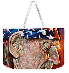 Weekender Tote Bag featuring the painting Willie Nelson Artwork by Sheraz A