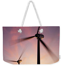 Wind Turbine Blades Spinning At Sunset Weekender Tote Bag