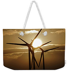 Wind Turbines Silhouette Against A Sunset Weekender Tote Bag