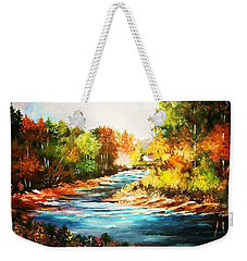 A Winding Stream In Autumn Light Weekender Tote Bag