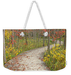 Weekender Tote Bag featuring the photograph Winding Woods Walk by Ann Horn