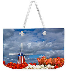 Windmill And Tulips Weekender Tote Bag by Patricia Davidson