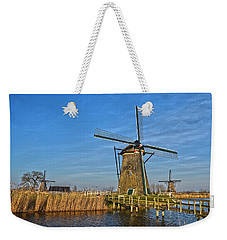 Windmills And Bridge Near Kinderdijk Weekender Tote Bag