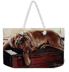 Weekender Tote Bag featuring the painting Window Dresser by Molly Poole