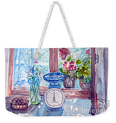 Weekender Tote Bag featuring the painting Window by Jasna Dragun