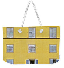 Windows Of Florence Against A Faded Yellow Plaster Wall Weekender Tote Bag