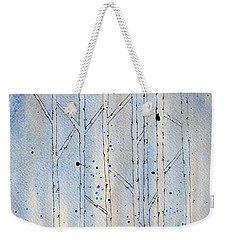 Weekender Tote Bag featuring the painting Winter Abstract by Rebecca Davis