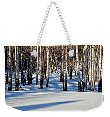 Weekender Tote Bag featuring the photograph Winter Aspens by Jack Bell