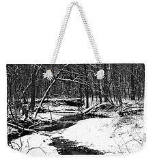 Winter At Pedelo Black And White Weekender Tote Bag by Deena Stoddard